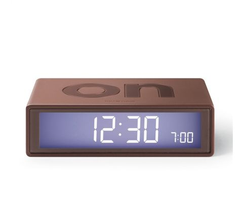 Lexon Flip color Reloj despertador LCD marron
