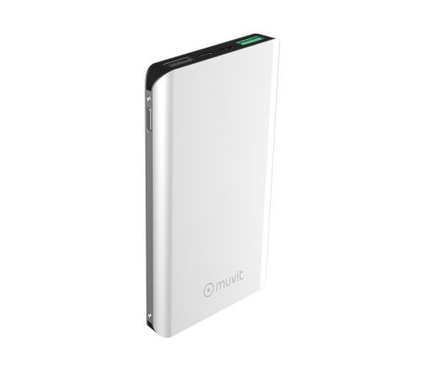 muvit power bank 10000 mAh 2 USB 3A+2,1A QC 3,0+2 input(micro usb + tipo C)plata