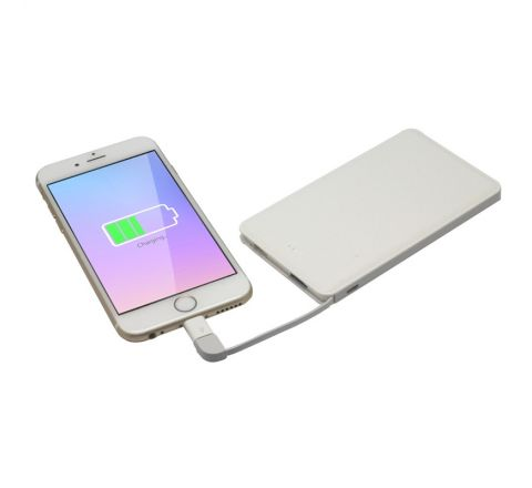 Myway power bank 5000 mAh USB 1A cable USB-Micro USB + adaptador Lightning blanco