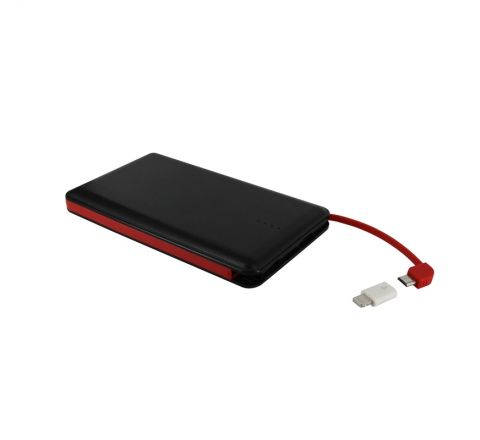 Myway power bank 8000 mAh USB 2A cable USB-Micro USB + adaptador Lightning negro