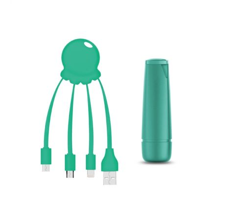 Xoopar After Work Power Pack adaptador multi conector + batería emergencia 2600 mAh verde